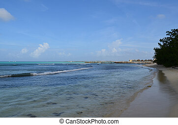 Waves Gently Rolling on to the Beach in Aruba