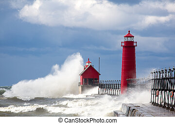 Waves Grand Haven pier - Waves on Grand Haven pier