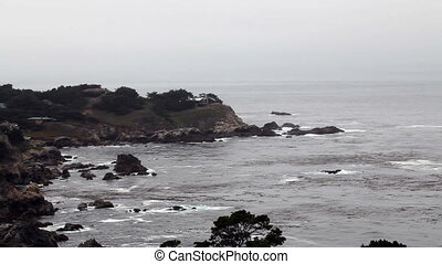 Waves Hitting Carmel Highlands - Waves And Overcast Sky...