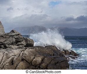 Waves hitting hard