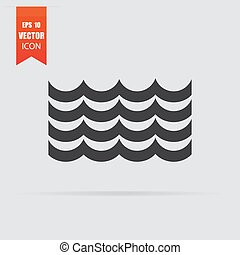 Waves icon in flat style isolated on grey background.