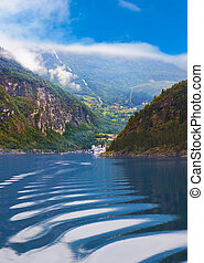 Waves in Geiranger fjord - Norway
