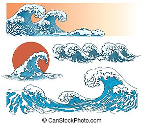 Waves in japanese style. Sea wave, ocean wave splash, storm...