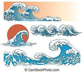 Waves in japanese style. Sea wave, ocean wave splash, storm...