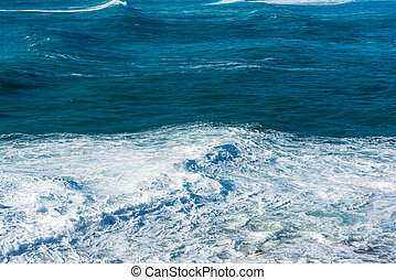 Waves in the blue sea