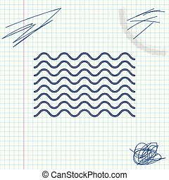 Waves line sketch icon isolated on white background. Vector Illustration