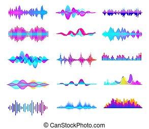 waves., linea, suono, ritmo, pendenza, multicolor, digitale, colorare, musica, musicale, segnale, equalizzatore, cliparts, waveforms, collection., set., onda, audio, vettore, studio, soundwaves, astratto, colorito