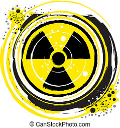 radioactive - waves of radiation in the radioactive symbol