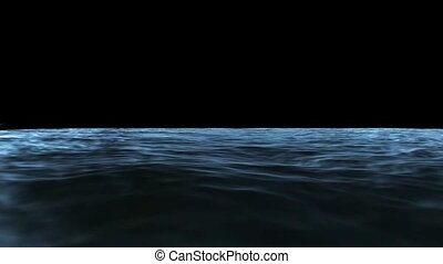 Waves of sea water on a black background HD