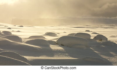 Waves of snow bumps in winter - Waves of snow bumps with...