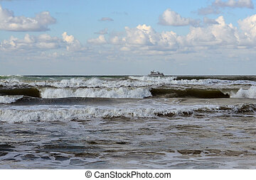 Waves of the Black Sea, Anapa, Krasnodar Krai. The ship in the s