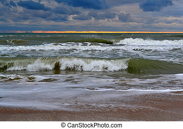 Waves of the Black Sea. Cloudy weather.