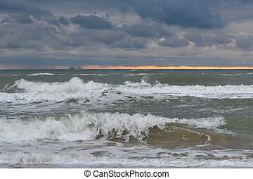 Waves of the Black Sea in cloudy weather.