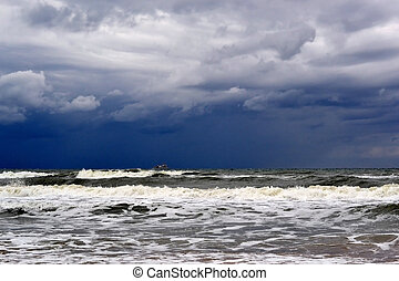 Waves of the Black Sea in rainy weather.