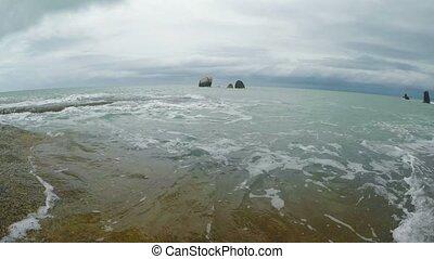 Waves on a rocky beach