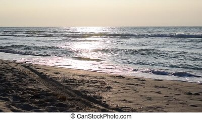 Waves on beach. Holiday concept background