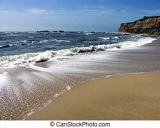 Waves on Beach - Waves at Half Moon Bay, California