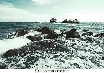 Waves on Black sea, Crimea, Ukraine