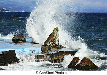 Waves on Black sea, Crimea, Ukraine
