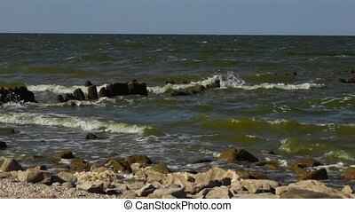 Waves on coastline of Azov sea