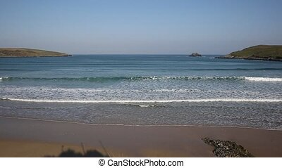 Waves on Crantock beach Cornwall