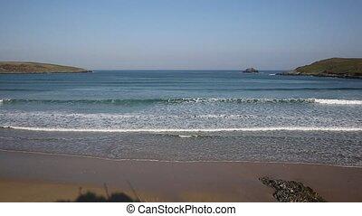 Waves on Crantock beach Cornwall