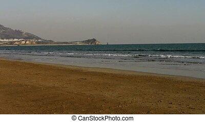 waves on sandy beach,bubble