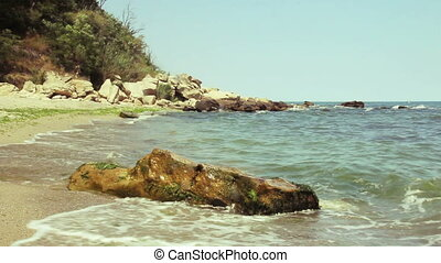 waves on sea costline with rocks