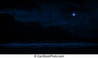 Waves On Shore Near Cliffs At Night