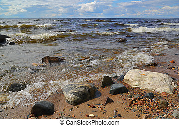 shore of Onega lake in Karelia