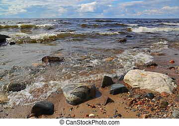 shore of Onega lake in Karelia