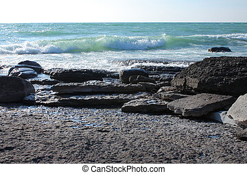 waves on stone beach