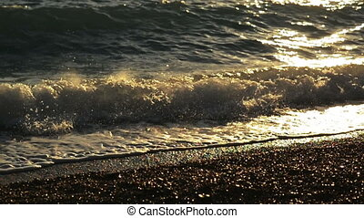 Waves on the Adriatic Sea, sunset, slow motion