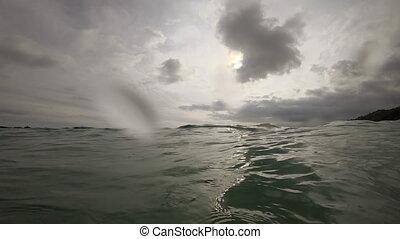 Waves on the beach of Nai Harn, Thailand - High tidal waves...