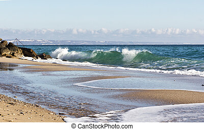 Waves on the beach of the Black Sea in Bulgaria