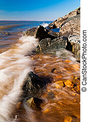 Waves on the Chesapeake Bay at Elk Neck State Park, Maryland