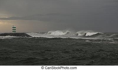 Waves on the coast at dusk