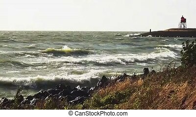 Waves on the dike near Stavoren.