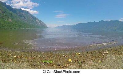 Waves on the lake Teletskoe. Altai mountains, Siberia,...