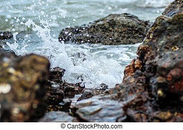 waves on the rocky beach