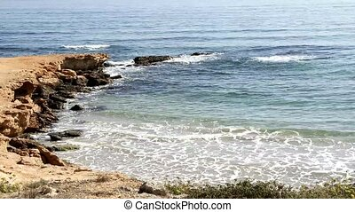Waves on the Shore of the Med. sea in Spain