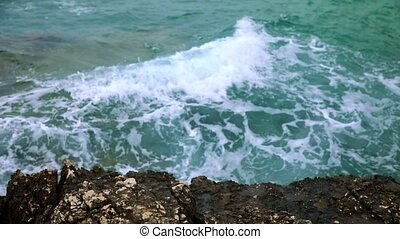 Waves on the shores of Croatian island slow motion from...