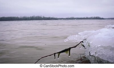 waves on the winter lake