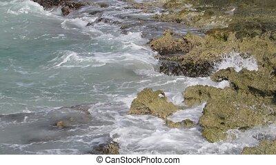 Waves over beach rocks