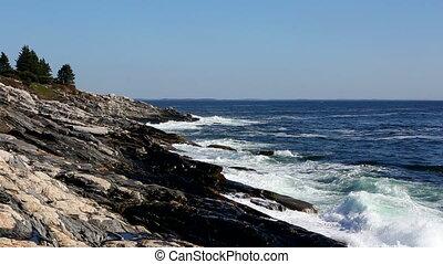 Waves Pounding Maine Coastline