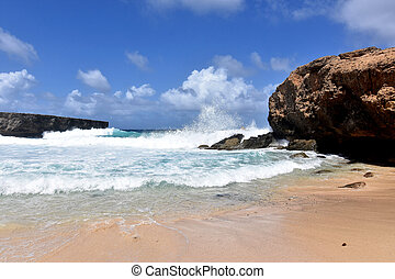 Waves Raging and Crashing on the Rocks in Aruba