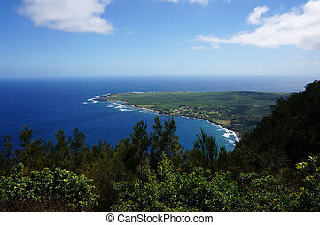 Waves roll towards Kalaupapa Peninsula on Molokai
