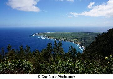 Waves roll towards Kalaupapa Peninsula on Molokai