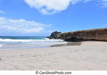 Waves Rolling Ashore on to Andicuri Beach In Aruba