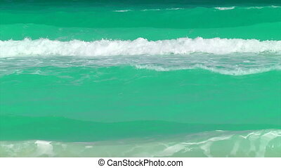 Waves Rolling in on a Tropical Beach, Cancun, Mexico